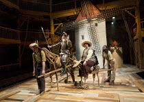 l-r: Natey Jones (Dapple / donkey), David Threlfall (Don Quixote), Rufus Hound (Sancho Panza), Theo Fraser Steele (Rosinante / horse) in DON QUIXOTE adapted by James Fenton from the novel by Miguel de...