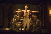 dressing the new Pharaoh: Anthony Roth Costanzo (Akhnaten) in AKHNATEN by Philip Glass opening at English National Opera (ENO), London Coliseum WC2 on 04/03/2016   in association with Improbable  a co...