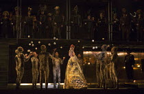 Coronation of Akhnaten, the new Pharaoh: Anthony Roth Costanzo (Akhnaten) with members of Gandini Juggling in AKHNATEN by Philip Glass opening at English National Opera (ENO), London Coliseum WC2 on 0...