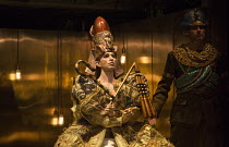 Coronation of Akhnaten, the new Pharaoh: Anthony Roth Costanzo (Akhnaten) in AKHNATEN by Philip Glass opening at English National Opera (ENO), London Coliseum WC2 on 04/03/2016   in association with I...