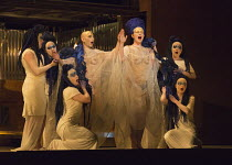 centre: Anthony Roth Costanzo (Akhnaten), Emma Carrington (Nefertiti) with their daughters in AKHNATEN by Philip Glass opening at English National Opera (ENO), London Coliseum WC2 on 04/03/2016 in ass...