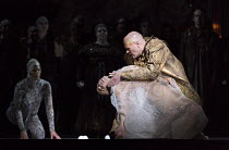 Akhnaten dies - l-r: Anthony Roth Costanzo (Akhnaten), Zachary James (Scribe) in AKHNATEN by Philip Glass opening at English National Opera (ENO), London Coliseum WC2 on 04/03/2016 in association with...