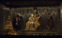 centre: Joshua Simpson (Young Tutankhamun) with rear, l-r: Clive Bayley (Aye), Colin Judson (High Priest of Amon), James Cleverton (Horemhab) in AKHNATEN by Philip Glass opening at English National Op...