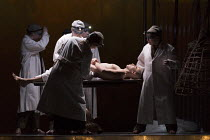 autopsy and embalment: Anthony Roth Costanzo (Akhnaten) in AKHNATEN by Philip Glass opening at English National Opera (ENO), London Coliseum WC2 on 04/03/2016 in association with Improbable  a co-prod...