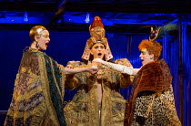 Epilogue - their ghosts - l-r: Emma Carrington (Nefertiti), Anthony Roth Costanzo (Akhnaten), Rebecca Bottone (Queen Tye) in AKHNATEN by Philip Glass opening at English National Opera (ENO), London Co...