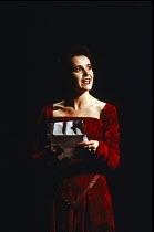 MACBETH  by Shakespeare   design: Bob Crowley   lighting: Mark Henderson   director: Adrian Noble   Amanda Root (Lady Macbeth) with letter Royal Shakespeare Company (RSC), Barbican Theatre, London E...