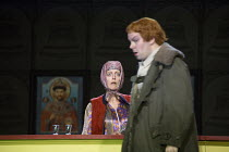scene 4, the inn: Rebecca de Pont Davies (Hostess of the Inn) with David Butt Philip (Grigory Otrepiev/ The 'False' Dimitry) in BORIS GODUNOV by Musorgsky (after Pushkin) opening at the The Royal Oper...