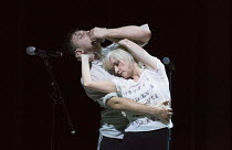 Conor Doyle (dancer), Jane Horrocks in IF YOU KISS ME, KISS ME opening at the The Young Vic, London SE1 on 16/03/2016   conceived by Jane Horrocks & Aletta Collins design: Bunny Christie lighting: And...