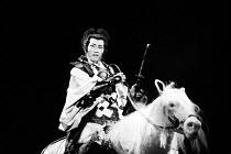 MACBETH   by Shakespeare   set design: Kappa Senoh   costumes: Jusaburo Tsujimura   lighting: Sumio Yoshii   director: Yukio Ninagawa Masane Tsukayama (Macbeth) on horseback~Ninagawa Theatre Company,...