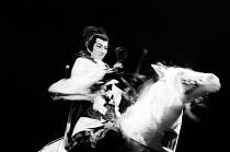MACBETH   by Shakespeare   set design: Kappa Senoh   costumes: Jusaburo Tsujimura   lighting: Sumio Yoshii   director: Yukio Ninagawa  Masane Tsukayama (Macbeth) on horsebackNinagawa Theatre Ninagawa...