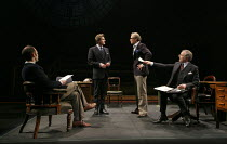 THIS HOUSE   by James Graham   design: Rae Smith   lighting: Paul Anderson   director: Jeremy Herrin   l-r: Matthew Pidgeon (Chelmsford), Charles Edwards (Jack Weatherill), Andrew Havill (Plymouth, Su...