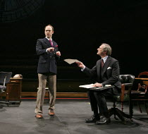 THIS HOUSE   by James Graham   design: Rae Smith   lighting: Paul Anderson   director: Jeremy Herrin   l-r: Matthew Pidgeon (Chelmsford), Julian Wadham (Humphrey Atkins) Olivier Theatre / National The...