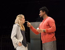Denise Gough (Emma), Nathaniel Martello-White (Mark) in PEOPLE, PLACES AND THINGS by Duncan Macmillan opening at Wyndham's Theatre, London WC2 on 23/03/2016   a National Theatre and Headlong 2015 pro...