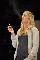 Denise Gough (Emma) in PEOPLE, PLACES AND THINGS by Duncan Macmillan opening at Wyndham's Theatre, London WC2 on 23/03/2016 ~a National Theatre and Headlong 2015 production set design: Bunny Christie...