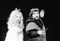 Frances Cuka (Lady Duncan), Harry H Corbett (Macbett) in MACBETT by Eugene Ionesco after Shakespeare's 'Macbeth'  Bankside Globe Theatre, London SE1  07/1973 design: Martin Johns lighting: Barry Griff...