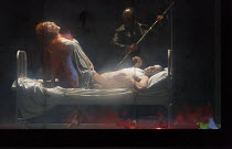 PARSIFAL   by Wagner   conductor: Antonio Pappano   design: Alison Chitty   lighting: Paul Pyant   director: Stephen Langridge   Act 1 - seen through screen panel of onstage box - Kundry laughs as sh...