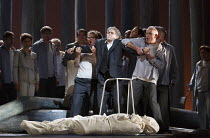 PARSIFAL   by Wagner   conductor: Antonio Pappano   design: Alison Chitty   lighting: Paul Pyant   director: Stephen Langridge   Act 3 - Amfortas with the body of Titurel: (being restrained) Gerald Fi...