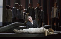 PARSIFAL   by Wagner   conductor: Antonio Pappano   design: Alison Chitty   lighting: Paul Pyant   director: Stephen Langridge   Act 3 - Amfortas with the body of Titurel: Gerald Finley (Amfortas) The...