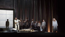 PARSIFAL   by Wagner   conductor: Antonio Pappano   design: Alison Chitty   lighting: Paul Pyant   director: Stephen Langridge   Act 3 - final scene - Parsifal with the spear, Amfortas and the body of...