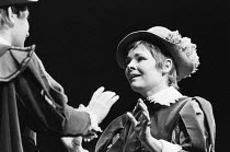 TWELFTH NIGHT by Shakespeare design: Christopher Morley lighting: Brian Harris director: John Barton Gordon Reid (Sebastian), Judi Dench (Viola) Royal Shakespeare Company (RSC), Aldwych Theatre, Londo...
