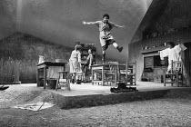 DANCING AT LUGHNASA by Brian Friel design: Joe Vanek lighting: Trevor Dawson director: Patrick Mason l-r: Anita Reeves (Maggie), Brid Brennan (Agnes), Brid Ni Neachtain (Rose), Catherine Byrne (Chris)...