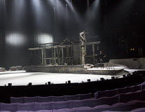 LES BLANCS (The Whites) by Lorraine Hansberry design: Soutra Gilmour lighting: Tim Lutkin director: Yael Farber   stage,revolve,set,crew,lights,house,South Africa,auditorium,seats Olivier Theatre / Na...