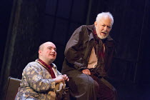 l-r: Joshua Elliott (Fool), Michael Pennington (King Lear) in KING LEAR by Shakespeare opening at the Theatre Royal, Royal & Derngate, Northampton on 05/04/2016  in association with Ambassador Theatre...