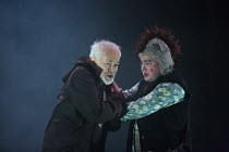 storm scene - l-r: Michael Pennington (King Lear), Joshua Elliott (Fool) in KING LEAR by Shakespeare opening at the Theatre Royal, Royal & Derngate, Northampton on 05/04/2016  in association with Amba...