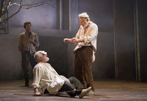 front, l-r: Pip Donaghy (Gloucester), Michael Pennington (King Lear) with (rear left) Gavin Fowler (Edgar) in KING LEAR by Shakespeare opening at the Theatre Royal, Royal & Derngate, Northampton on 05...