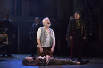Michael Pennington (King Lear), Beth Cooke (Cordelia - dead) with (right) Tom McGovern (Kent) in KING LEAR by Shakespeare opening at the Theatre Royal, Royal & Derngate, Northampton on 05/04/2016  in...