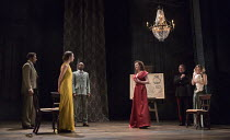 l-r: Adrian Irvine (Albany), Beth Cooke (Cordelia), Caleb Frederick (France), Catherine Bailey (Goneril), Shane Attwooll (Cornwall), Sally Scott (Regan) in KING LEAR by Shakespeare opening at the Thea...