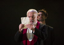 I/ii - Gloucester reads the forged letter: Pip Donaghy (Gloucester), Scott Karim (Edmund) in KING LEAR by Shakespeare opening at the Theatre Royal, Royal & Derngate, Northampton on 05/04/2016  in asso...
