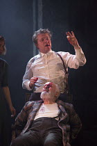 III/v - blinding of Gloucester - 'Out, vile jelly!': Sally Scott (Regan), Pip Donaghy (Gloucester), Shane Attwooll (Cornwall) in KING LEAR by Shakespeare opening at the Theatre Royal, Royal & Derngate...