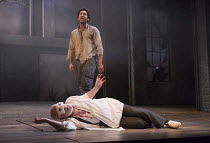 (front) Pip Donaghy (Gloucester), Gavin Fowler (Edgar) in KING LEAR by Shakespeare opening at the Theatre Royal, Royal & Derngate, Northampton on 05/04/2016  in association with Ambassador Theatre Gro...