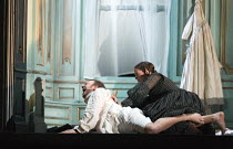 Act 3, scene 1 - Alisa finishes off Arturo: Taylor Stayton (Arturo Bucklaw), Rachael Lloyd (Alisa) in LUCIA DI LAMMERMOOR music by Donizetti opening at The Royal Opera House, Covent Garden, London WC2...