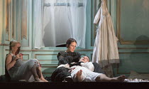 Act 3, scene 1 - Arturo lies dead - l-r: Diana Damrau (Lucia), Rachael Lloyd (Alisa), Taylor Stayton (Arturo Bucklaw) in LUCIA DI LAMMERMOOR music by Donizetti opening at The Royal Opera House, Covent...