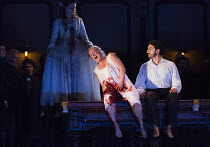Act 3, scene 2 - l-r: Sacha Plaige (ghost of a murdered Lammermoor girl), Diana Damrau (Lucia), Charles Castronovo (Edgardo Ravenswood) in LUCIA DI LAMMERMOOR music by Donizetti opening at The Royal O...