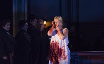 Act 3, scene 2: Diana Damrau (Lucia) in LUCIA DI LAMMERMOOR music by Donizetti opening at The Royal Opera House, Covent Garden, London WC2 on 07/04/2016 libretto: Cammarano conductor: Daniel Oren desi...