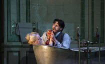 Act 3, scene 3: Diana Damrau (Lucia), Charles Castronovo (Edgardo Ravenswood) in LUCIA DI LAMMERMOOR music by Donizetti opening at The Royal Opera House, Covent Garden, London WC2 on 07/04/2016 libret...