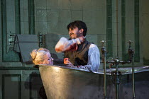 Act 3, scene 3 - Edgardo slashes his throat: Diana Damrau (Lucia), Charles Castronovo (Edgardo Ravenswood) in LUCIA DI LAMMERMOOR music by Donizetti opening at The Royal Opera House, Covent Garden, Lo...