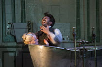 Act 3, scene 3 - Edgardo dies: Diana Damrau (Lucia), Charles Castronovo (Edgardo Ravenswood) in LUCIA DI LAMMERMOOR music by Donizetti opening at The Royal Opera House, Covent Garden, London WC2 on 07...