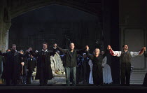 dress rehearsal curtain call, Monday 4th April - l-r: Peter Hoare (Normanno), Ludovic Tezier (Enrico Ashton), Daniel Oren (conductor), Diana Damrau (Lucia), Charles Castronovo (Edgardo Ravenswood) : L...