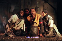 MACBETH by Shakespeare design: Christine Marfleet lighting: David Taylor director: Nicolas Kent  Lennie James (Macbeth) with the WitchesTricycle Theatre, London NW6  25/10/1995