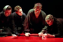 MACBETH by Shakespeare set design: Jeremy Herbert costumes: Laura Hopkins lighting: Rick Fisher director: John Crowley Rufus Sewell (Macbeth) with the WitchesQueen's Theatre, London W1  03/03/1999