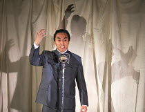 Siu Hun Li (Mao) in THE SUGAR-COATED BULLETS OF THE BOURGEOISIE by Anders Lustgarten opening at the Arcola Theatre, London E8 on 12/04/2016   co-production with High Tide Festival design: Lily Arnold...