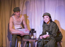 Andrew Leung (Xu), Louise Mai Newberry (Tang) in THE SUGAR-COATED BULLETS OF THE BOURGEOISIE by Anders Lustgarten opening at the Arcola Theatre, London E8 on 12/04/2016   co-production with High Tide...