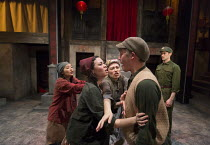 l-r:Alice Hewkin (Jiao's Wife), Anna Leong Brophy (Lotus Blossom), Sara Houghton (Mrs Gao), Stephen Hoo (Stocky Jiao), Andrew Leung (Xu) in THE SUGAR-COATED BULLETS OF THE BOURGEOISIE by Anders Lustga...