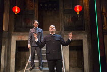 imposters - l-r: Siu Hun Li (Fake Mao), Stephen Hoo (Fake Mao) in THE SUGAR-COATED BULLETS OF THE BOURGEOISIE by Anders Lustgarten opening at the Arcola Theatre, London E8 on 12/04/2016   co-productio...