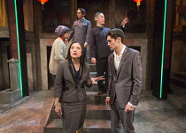 front: Louise Mai Newberry (Lawyer Lang), Andrew Leung (Xu) rear, l-r: Anna Leong Brophy (Lotus Blossom), Siu Hun Li (Fake Mao), Stephen Hoo (Fake Mao) in THE SUGAR-COATED BULLETS OF THE BOURGEOISIE b...