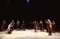MACBETH  by Shakespeare   design: Chris Dyer   lighting: Howard Eaton   director: Howard Davies  1:4 - left: (kneeling) Bob Peck (Macbeth, now Thane of Cawdor), (rear) David Troughton (Ross)   right,...